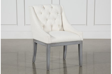 Alexa White Linen Dining Chair With Cement Legs