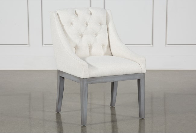 Alexa White Linen Dining Side Chair With Cement Legs - 360