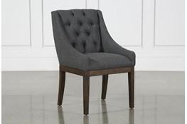 Alexa Charcoal Linen Dining Chair With Cognac Legs