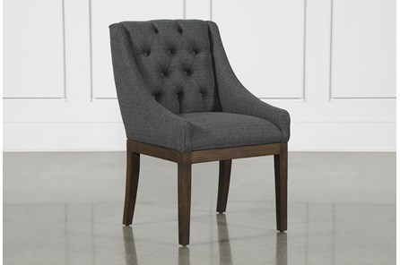 Alexa Charcoal Linen Dining Side Chair With Cognac Legs
