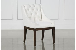 Alexa White Linen Dining Side Chair With Cognac Legs