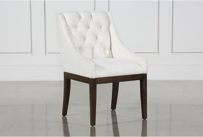 Alexa White Linen Dining Side Chair With Cognac Legs - 360