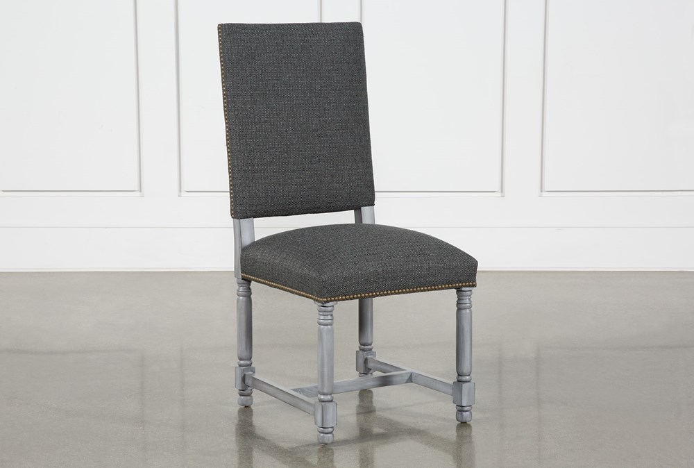 Pacifica Charcoal Linen Dining Chair With Cement Legs