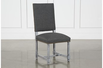 Pacifica Charcoal Linen Dining Side Chair With Cement Legs
