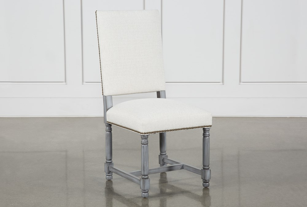 Pacifica White Linen Dining Side Chair With Cement Legs