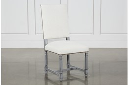 Pacifica White Linen Dining Chair With Cement Legs