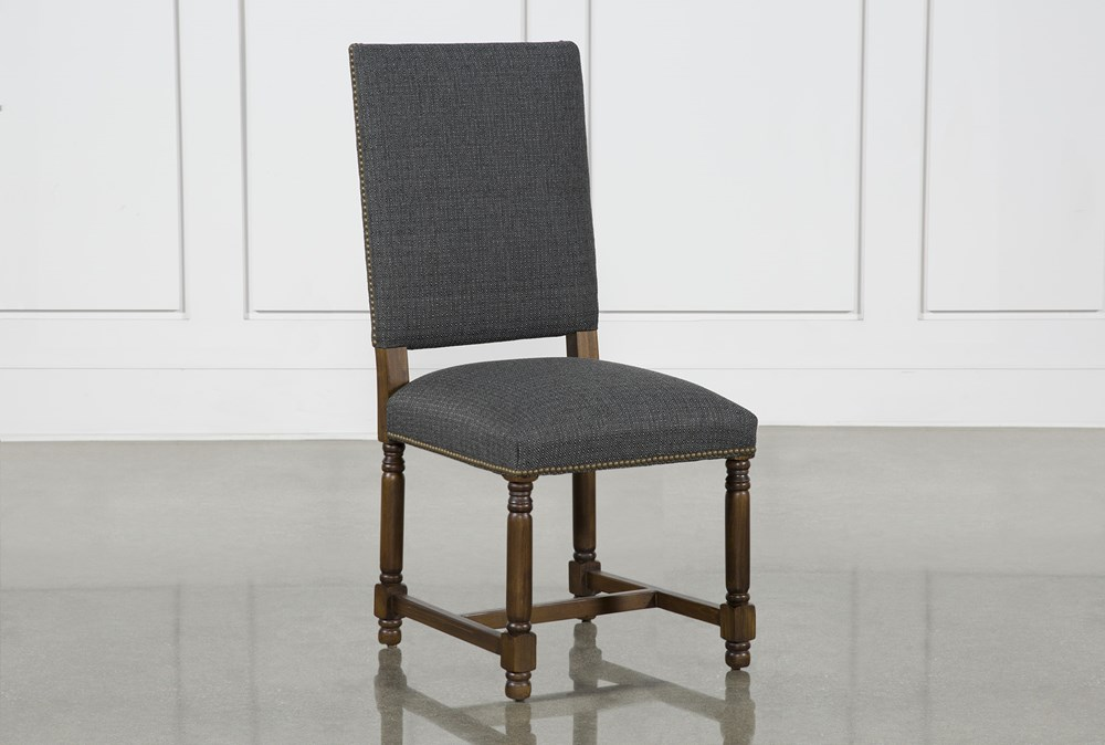 Pacifica Charcoal Linen Dining Side Chair With Cognac Legs