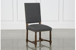 Pacifica Charcoal Linen Dining Chair With Cognac Legs