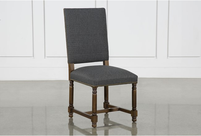 Pacifica Charcoal Linen Dining Side Chair With Cognac Legs - 360