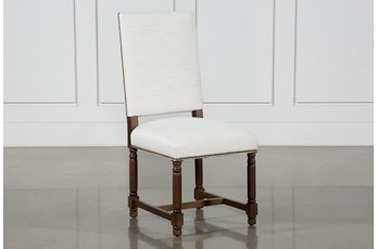 Pacifica White Linen Dining Side Chair With Cognac Legs
