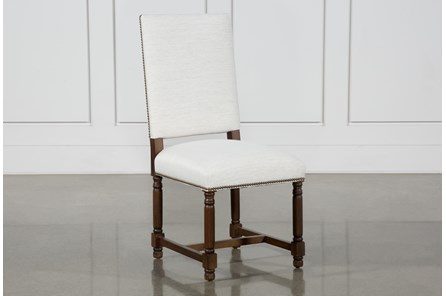 Pacifica White Linen Dining Chair With Cognac Legs