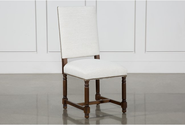 Pacifica White Linen Dining Side Chair With Cognac Legs - 360