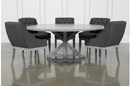 La Phillippe Cement 72 Inch 6 Piece Round Dining With Alexa Charcoal Chairs