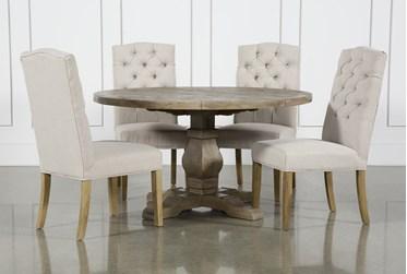 Caden 5 Piece Round Dining Set With Biltmore Chairs