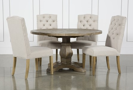 Caden 5 Piece Round Dining Set With Bitmore Chairs