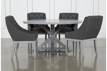 La Phillippe Cement 60 Inch 5 Piece Round Dining With Alexa Charcoal Chairs