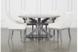 La Phillippe Cement 60 Inch 5 Piece Round Dining With Alexa White Chairs