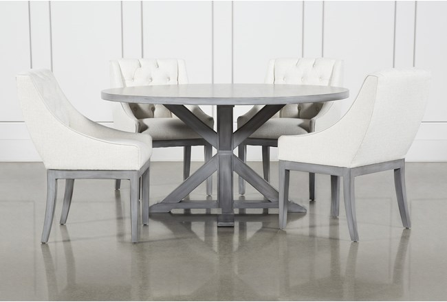 La Phillippe Cement 60 Inch 5 Piece Round Dining With Alexa White Chairs - 360