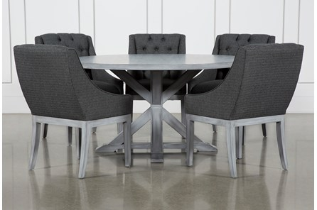 La Phillippe Cement 60 Inch 6 Piece Round Dining With Alexa Charcoal Chairs