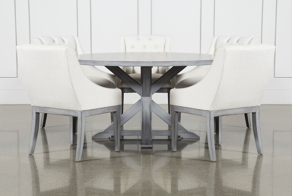 La Phillippe Cement 60 Inch 6 Piece Round Dining With Alexa White Chairs