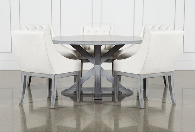 La Phillippe Cement 60 Inch 6 Piece Round Dining With Alexa White Chairs - 360
