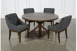 La Phillippe Cognac 60 Inch 5 Piece Round Dining With Alexa Charcoal Chairs