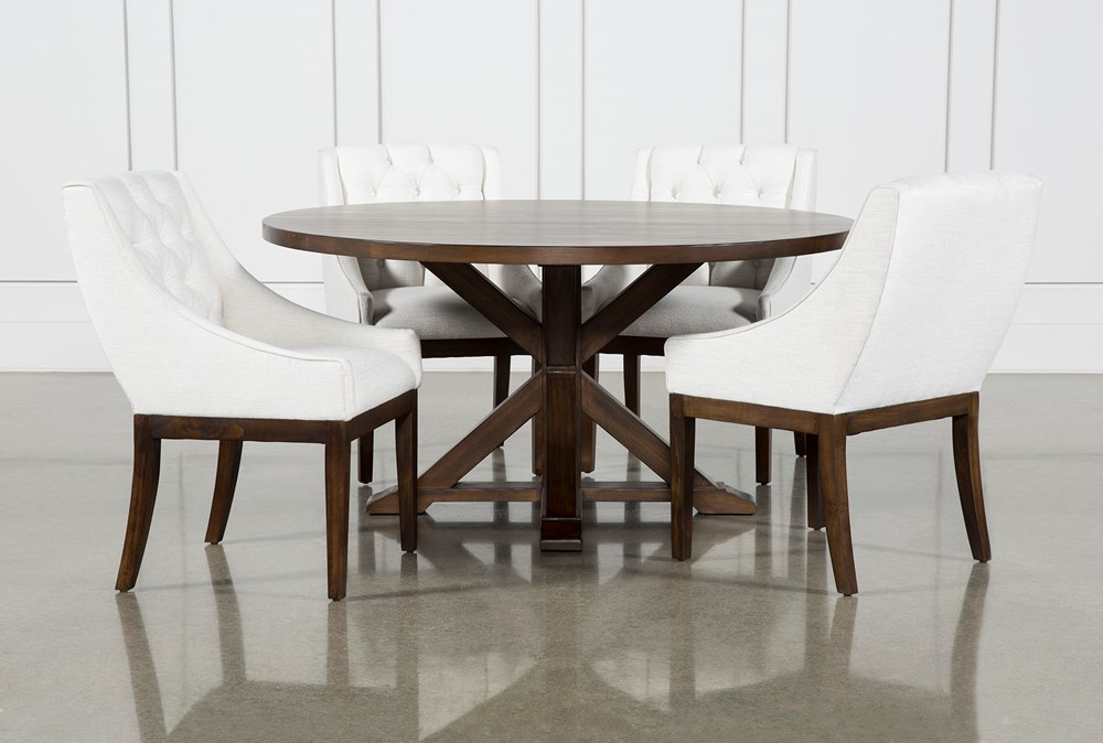 La Phillippe Cognac 60 Inch 5 Piece Round Dining With Alexa White Chairs