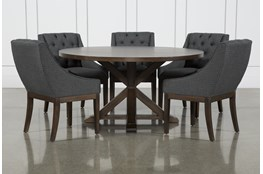 La Phillippe Cognac 60 Inch 6 Piece Round Dining With Alexa Charcoal Chairs