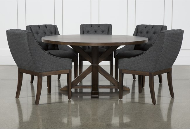 La Phillippe Cognac 60 Inch 6 Piece Round Dining With Alexa Charcoal Chairs - 360