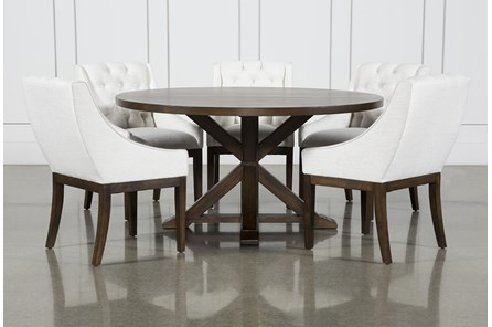 La Phillippe Cognac 60 Inch 6 Piece Round Dining With Alexa White Chairs