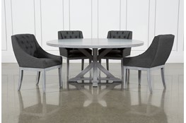 La Phillippe Cement 72 Inch 5 Piece Round Dining With Alexa Charcoal Chairs