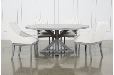 La Phillippe Cement 72 Inch 5 Piece Round Dining With Alexa White Chairs
