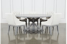 La Phillippe Cement 72 Inch 6 Piece Round Dining With Alexa White Chairs