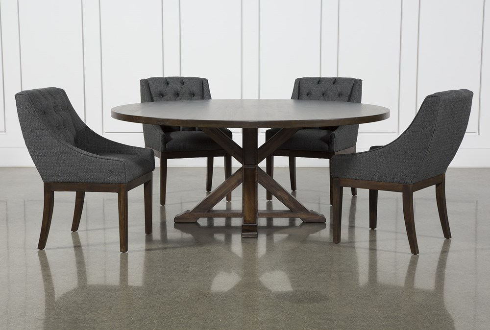 La Phillippe Cognac 72 Inch 5 Piece Round Dining With Alexa Charcoal Chairs
