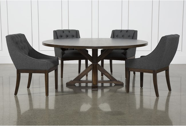 La Phillippe Cognac 72 Inch 5 Piece Round Dining With Alexa Charcoal Chairs - 360