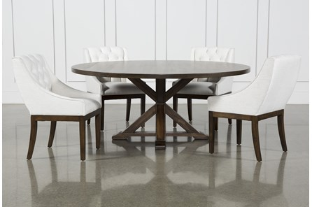 La Phillippe Cognac 72 Inch 5 Piece Round Dining With Alexa White Chairs