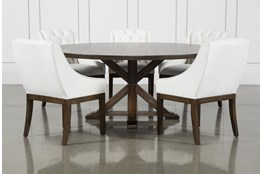 La Phillippe Cognac 72 Inch 6 Piece Round Dining With Alexa White Chairs