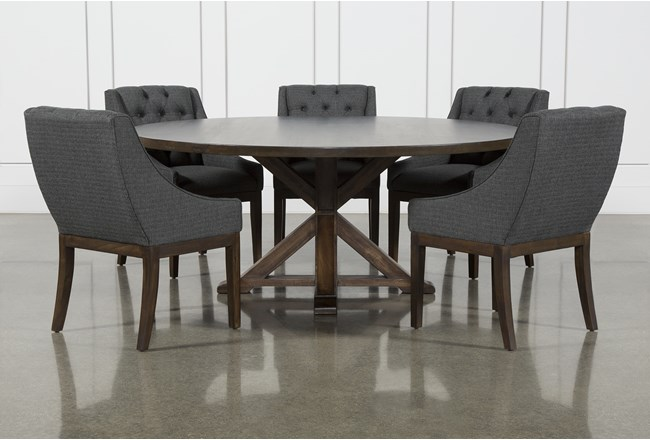La Phillippe Cognac 72 Inch 6 Piece Round Dining With Alexa Charcoal Chairs - 360