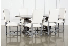 Toscana Cement 72 Inch 7 Piece Rectangle Dining With Pacifica White Chairs
