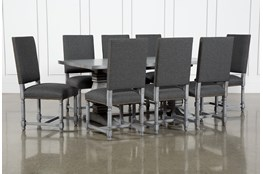 Toscana Cement 72 Inch 9 Piece Rectangle Dining With Pacifica Charcoal Chairs
