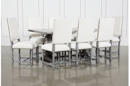 Toscana Cement 72 Inch 9 Piece Rectangle Dining With Pacifica White Chairs