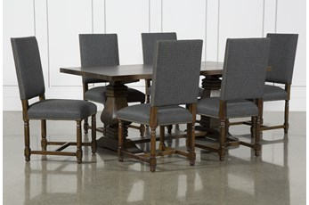 Toscana Cognac 72 Inch 7 Piece Rectangle Dining With Pacifica Charcoal Chairs