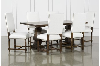 Toscana Cognac 72 Inch 7 Piece Rectangle Dining With Pacifica White Chairs