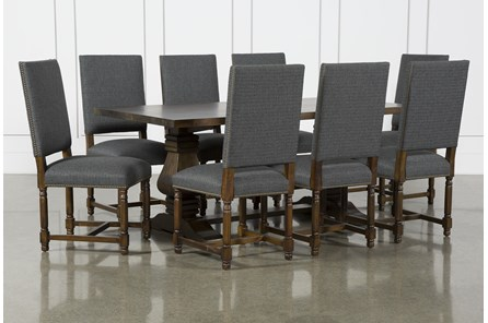 Toscana Cognac 72 Inch 9 Piece Rectangle Dining With Pacifica Charcoal Chairs