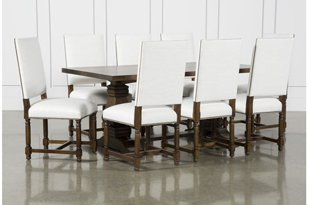Toscana Cognac 72 Inch 9 Piece Rectangle Dining With Pacifica White Chairs