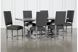 Toscana Cement 84 Inch 7 Piece Rectangle Dining With Pacifica Charcoal Chairs