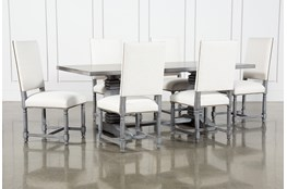 Toscana Cement 84 Inch 7 Piece Rectangle Dining With Pacifica White Chairs