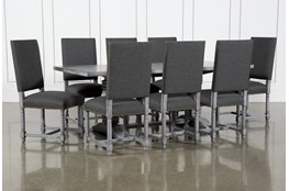 Toscana Cement 84 Inch 9 Piece Rectangle Dining With Pacifica Charcoal Chairs
