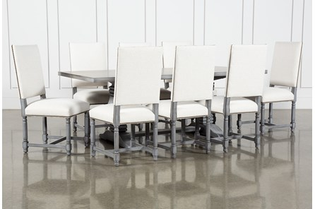 Toscana Cement 84 Inch 9 Piece Rectangle Dining With Pacifica White Chairs