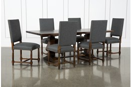 Toscana Cognac 84 Inch 7 Piece Rectangle Dining With Pacifica Charcoal Chairs